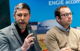 Nicolas Spilliaert, head of biomethane development at ENGIE, and Paul Gaffet, a cereal farmer in northern France.